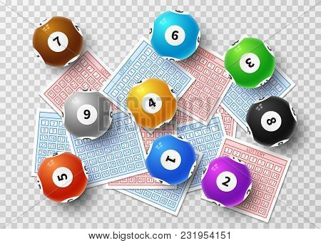 Lottery Balls And Bingo Lucky Tickets Isolated On Transparent Background. Sports Gambling Vector Con