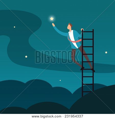 Successful Businessman Reaching Star. Man Climbing To Stars. Business And Career Success Vector Conc