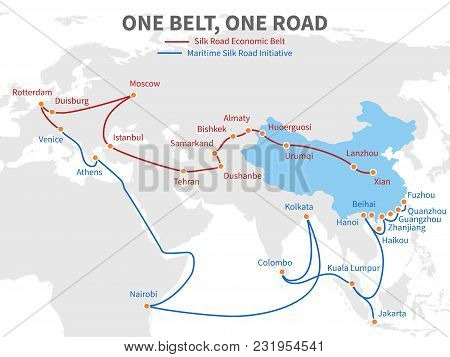 One Belt - One Road Chinese Modern Silk Road. Economic Transport Way On World Map Vector Illustratio