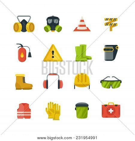 Personal Protective Equipment For Safety And Security Work Flat Vector Icons. Safety Equipment And P