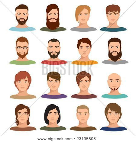 Adult Male Portraits Vector Collection. Internet Profile Mans Cartoon Faces. User Profile Human Male