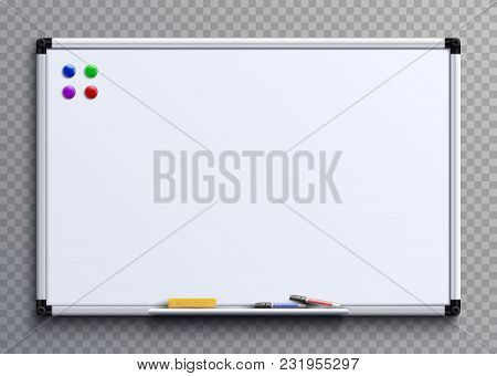 Empty Whiteboard With Marker Pens And Magnets. Business Presentation Office White Board Isolated Vec