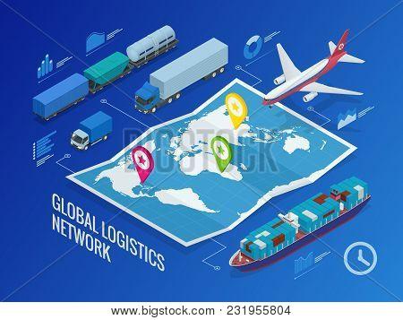 Global Logistics Network Flat Isometric Vector Illustration Concept Of Air Cargo Trucking Rail Trans