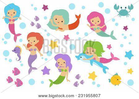 Pretty Swimming Mermaids With Underwater Elements. Sea Princess Girls Cartoon Characters. Underwater