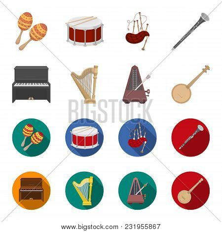 Banjo, Piano, Harp, Metronome. Musical Instruments Set Collection Icons In Cartoon, Flat Style Vecto