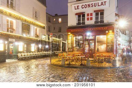 Paris , France- March 17, 2018: View Of Typical Paris Cafe In Paris. Montmartre Area Is Among Most P