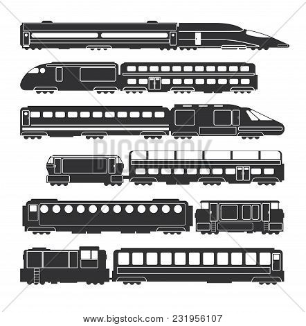 Trains And Wagons Black Vector Railway Cargo And Passenger Transportation Silhouettes. Train Transpo