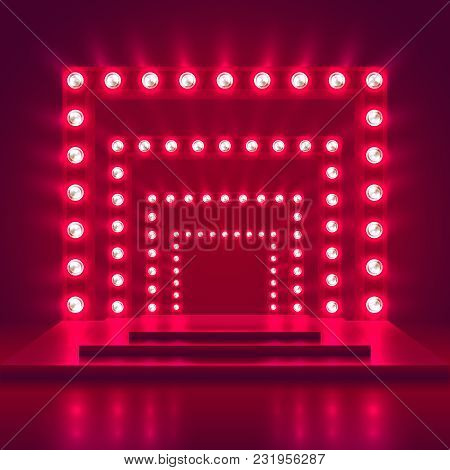 Retro Show Stage With Light Frame Decoration. Game Winner Casino Vector Background. Illuminated Of S