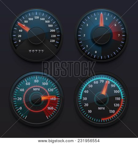 Futuristic Car Speedometers, Speed Indicators With Pointer For Vehicle Dashboard Isolated Vector Set