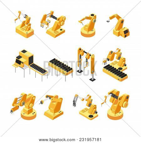 Industry Robot Machinery, Mechanical Arm Isometric Vector Set. Machinery Robot And Robotic Isometric