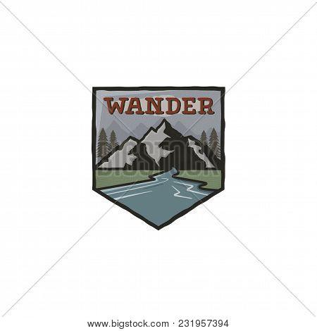 Mountain Vintage Badge. Mountain Explorer Label. Outdoor Adventure Logo Design With Mountains And Wa
