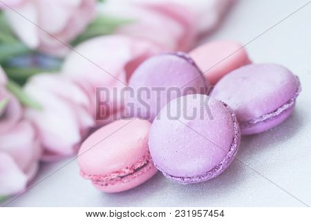 Pink And Violet Macaroons, Spring Flowers, Tulips, Tender Pastel Background. Romantic Morning, Gift,