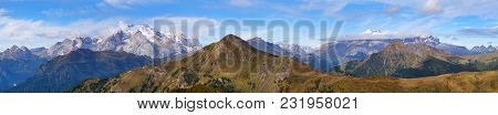 Panoramic View Of Marmolada, The Highest Mount Of Dolomites Mountains And Mount Sella, Italy