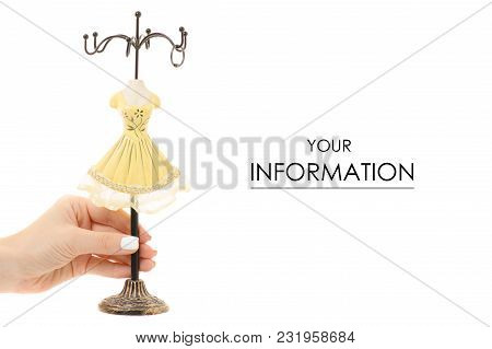 Female Hand Hanger For Jewelry Rings Pattern On A White Background Isolation