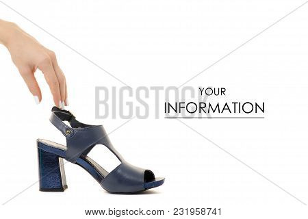 Blue Female Shoes Sandals In Hand Pattern On A White Background Isolation
