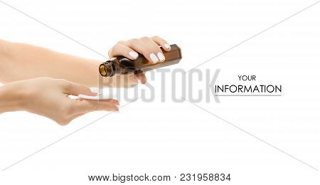 Female Hands With A Cotton Disc And Tonic Medical Alcohol Pattern On A White Background Isolation