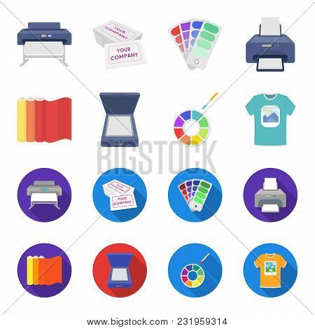 Scanner, Color Palette And Other Equipment. Typography Set Collection Icons In Cartoon, Flat Style V