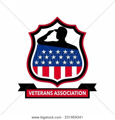 Icon Retro Style Illustration Of An American Veteran Soldier Saluting With An Usa Stars And Stripes