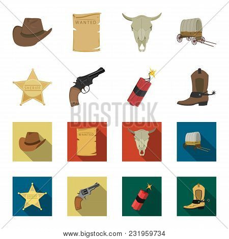 Star Sheriff, Colt, Dynamite, Cowboy Boot. Wild West Set Collection Icons In Cartoon, Flat Style Vec