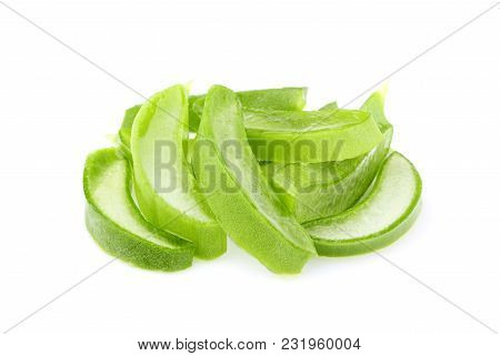 Aloe Vera Sliced In Heap, Isolated On A White Background.