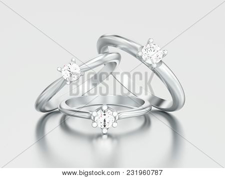 3d Illustration Three Different White Gold Or Silver Engagement Diamond Rings On A Gray Background