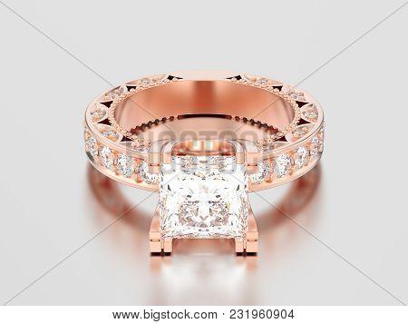 3d Illustration Rose Gold Channel Princess Cut Diamond Engagement Decorative Ring On A Gray Backgrou