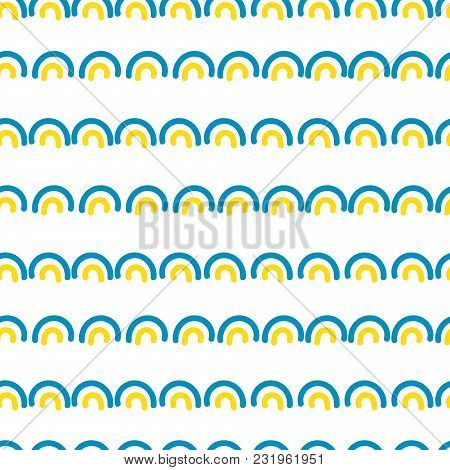 Abstract Knolls Seamless Vector Pattern. Blue And Yellow Rows Repeat Background.