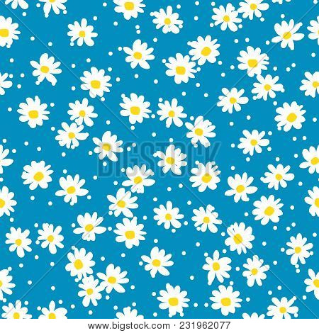 Retro Daisy Seamless Vector Pattern. Blue And White Floral Background.