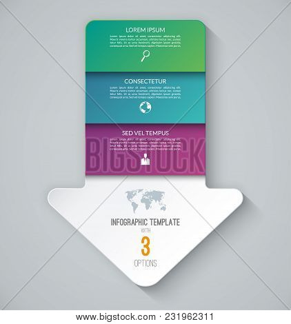 Infographic Template In The Form Of An Arrow Pointing Down. Business Concept With 3 Steps, Options.