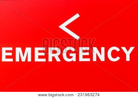 Red Emergency Entrance Sign For A Local Hospital I
