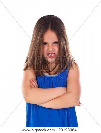 Angry small child isolated on a white background