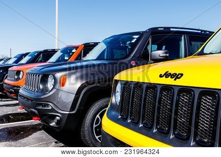 Noblesville - Circa March 2018: Jeep Automobile Dealership. Jeep Is A Subsidiary Of Fiat Chrysler Au