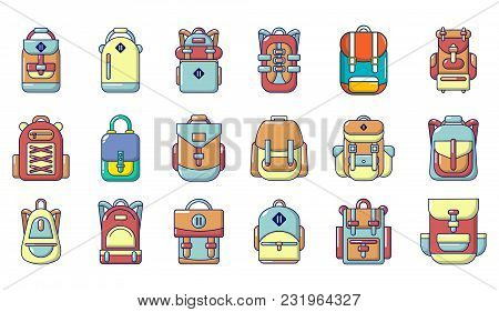Backpack Icon Set. Cartoon Set Of Backpack Vector Icons For Web Design Isolated On White Background