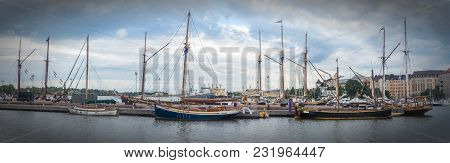 Ships And Yachts Moored In The Harbor, Helsinki, Finland