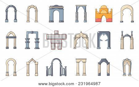 Arch Icon Set. Cartoon Set Of Arch Vector Icons For Web Design Isolated On White Background