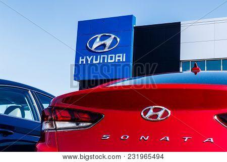 Noblesville - Circa March 2018: Hyundai Motor Company Dealership. Hyundai is a South Korean Multinational Automotive Manufacturer VII