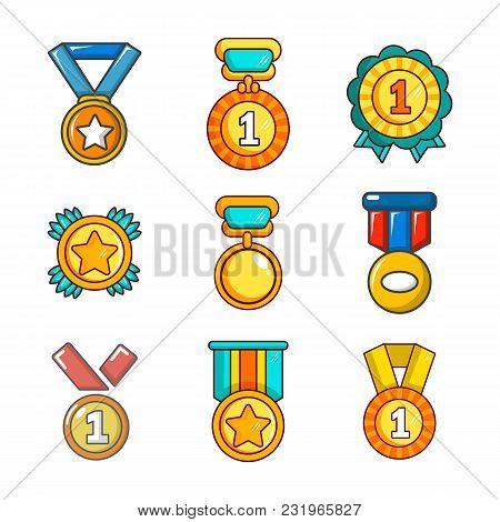 Gold Medal Icon Set. Cartoon Set Of Gold Medal Vector Icons For Web Design Isolated On White Backgro