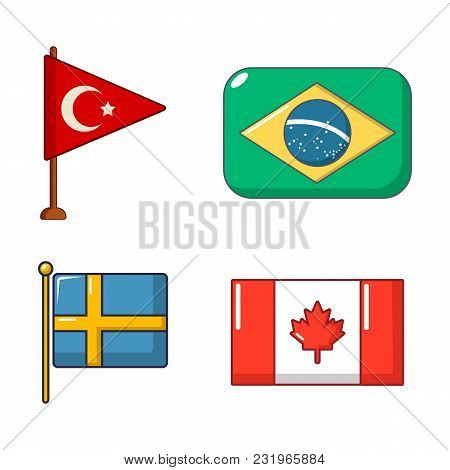 Country Flag Icon Set. Cartoon Set Of Country Flag Vector Icons For Web Design Isolated On White Bac