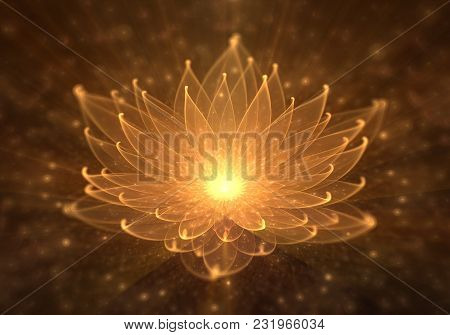 Radiant Orange Lotus With Rays Of Light, Water Lily, Enlightenment Or Meditation And Universe, Magic