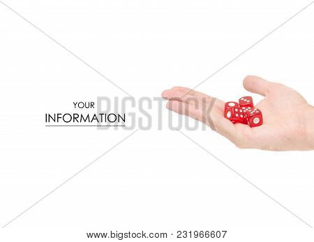 Playing Dice In Hand Pattern On White Background Isolation