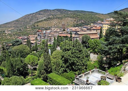 Beautiful Landscape With Old Village And Balustrade Terrace, Tuscany, Italy