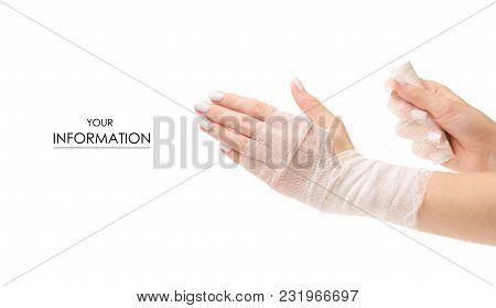 Bandage In Hand Medicine Pharmacy Pattern On White Background Isolation