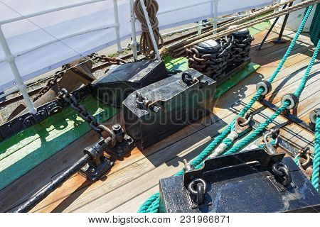 Chains And Fastening As Part Of Rigging On A Sailing Ship.