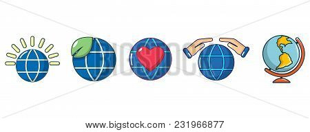 Global Icon Set. Cartoon Set Of Global Vector Icons For Web Design Isolated On White Background