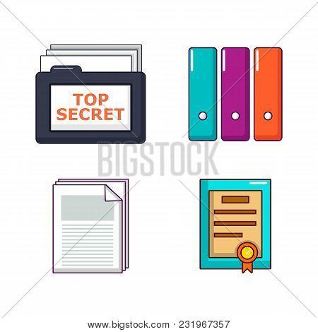 Folder Icon Set. Cartoon Set Of Folder Vector Icons For Web Design Isolated On White Background