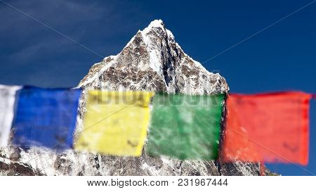 Rows Of Prayer Flags And Mount Arakam Tse, Sagarmatha National Park, Trek To Everest Base Camp, Khum
