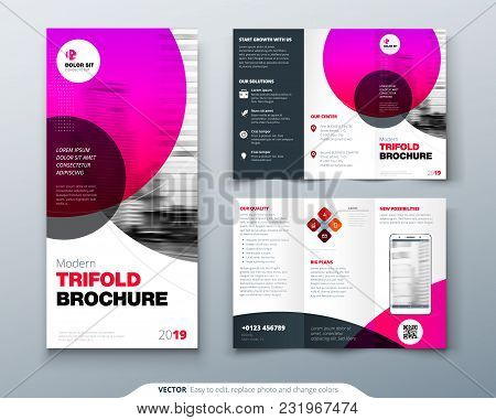 Tri Fold Brochure Design. Pink Business Template For Tri Fold Flyer. Layout With Modern Circle Photo