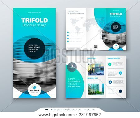 Tri Fold Brochure Design. Blue Business Template For Tri Fold Flyer. Layout With Modern Circle Photo