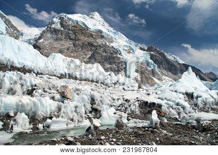 View From Everest Base Camp To West Rock Face Of Nuptse Peak And Khumbu Ice Fall, Sagarmatha Nationa