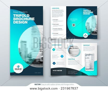 Tri Fold Brochure Design. Teal, Orange Corporate Business Template For Tri Fold Flyer. Layout With M
